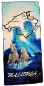 Mallorca Beach Towel 70 x 140 cm Hand Towel, Bath Towel 100% Cotton Microfibre, schwarz blau weiß, 140 x 70 cm