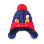 ZHOUBA Lovely Cat Fish Baby Boys Girls Knitting Beanie Hat Soft Winter Warm Crochet Cap - Dark Blue
