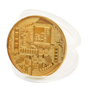 Ouneed 1 x Gold Plated Bitcoin Coin