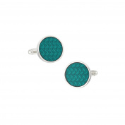 LINK UP Men's Round Carbon Pattern Hunter Green Cufflinks