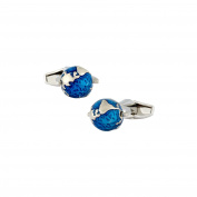 LINK UP Men's Blue Enamel Spinning Globe Cufflinks