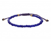 LINK UP Men's Blue Glass Beads Pull Thread Bracelet