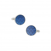 LINK UP Men's Blue Enamel Fleur De Lis Cufflinks