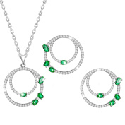 MARENJA Jewellery Set for Women White Gold Plated Double Circle Necklace and Earrings with Crystal