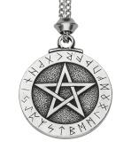 Handmade Viking Large Runes Pentacle Pewter Pendant ~ Pentagram of Protection ~ 18+10cm extender Chain