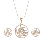 XUPING Fashion White Cubic Zirconia Pendant Necklaces Women Tree of Life Jewellery Set Party Halloween Christmas Gifts