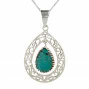 aden' S Jewels – Silver and Turquoise Pendant Drop Claw Set Money