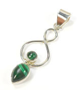 Beautiful Things for Women Malachite Gemstone Stamped 925 Sterling Silver Pendant