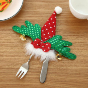 SMILEQ Christmas Tree Ornament Dinnerware Cover Candy Bags Xmas Fork Tableware Bag Desk Decor