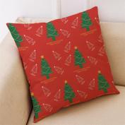 Masrin Decorative Pillowcases Christmas Cotton Linen Car Sofa Cushion Cover Home Party Decor