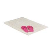 Relaxdays BENNY Bath Mat of 100% Cotton, Maritime, Bathroom Rug, 50 x 70 cm, Washable Carpet, Champagne