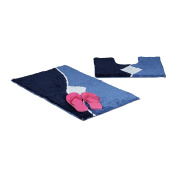 Relaxdays Bath Accessory 2 Piece Set with Graph Design, For Heated Floors, Washable, Bath Mat and Pedestal Toilet Mat with Cut-Out, 80 x 50 cm, Blue
