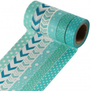 UOOOM 6pcs Decorative Washi Tape Masking Tape Black White Adhesive Scrapbooking DIY Craft Gift 10m x 15mm