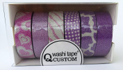 """'5 + 1 Roll 10 m Length Washi Decorative Tape """"Pink Rice Paper Tape"""