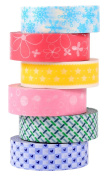 ST Washi Masking Tape Selection ,15mm X 9.1m each,Pack of 6