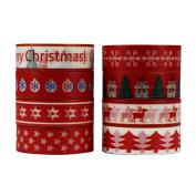 UOOOM 8pcs Washi Tape Masking Tape Christmas Decorative Tape Adhesive Scrapbooking DIY Craft Gift