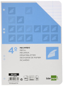 Spare liderpapel Quarter 100 Sheets 60 g/m2 Horizontal with Margin 6 Holes
