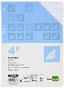 Spare liderpapel Quarter 100 Sheets 60 g/m2 Table 4 mm with Margin 6 Holes