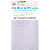 420 Hook and Loop Dots White Round Coins 13mm Sticky Self Adhesive 210 Hooks Plus 210 Loops by Syntego