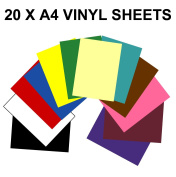 A4 Self Adhesive Vinyl Sheets x 20 (Sticky Back Plastic) For Hobbies & Crafts. Cut by Hand or with any Craft Cutter. For Silhouette Cameo / Curio / Portrait / Robo / Scan n Cut - GREENSTAR GRAPHICS ®