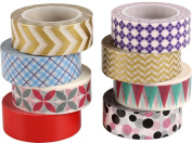 ST Washi Masking Tape collection ,15mm X 9.1m each,Pack of 8 - for DIY crafts,Scrapbook,Decorating Office Party creative projects