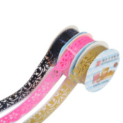 TININNA 3 Pcs Decorative Lace Washi Tape Sticky Paper Masking Adhesive Tape Scrapbooking Borders for DIY Craft Hot Pink+Black+Golden