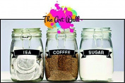 Set of Coffee/Tea/Sugar Vinyl Stickers/Labels for storage jars canisters