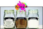 Ribbon Set of Coffee/Tea/Sugar Vinyl Stickers/Labels for storage jars canisters