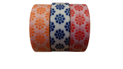 Triple Floral Washi – Red, Orange & Blue – 15mm x 10 metres