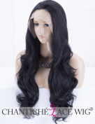 Chantiche Best Black Lace Front Wigs for Women Long Wavy Synthetic Lace Wig Free Part Half Hand Tied 60cm