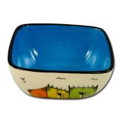 "Square bowl ""Township"", approx. 13 cm, blue"