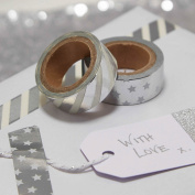 Ginger Ray Silver Foiled Washi Gift Wrapping Tape x2 - Metallic Perfection