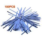 Sonline 100 Pcs Blue Metallic Plastic Twist Ties for Cello Lollipop Candy Bags Bakery