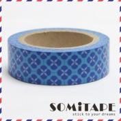 Blue Flower Pattern Washi Tape, Craft Decorative Tape