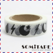 Moon And Stars Lighning Bolt Washi Tape, Craft Decorative Tape