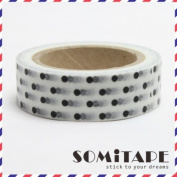 Black Polkadot On White Washi Tape, Craft Decorative Tape