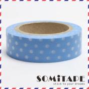 Light Blue With White Polkadot Washi Tape, Craft Decorative Tape