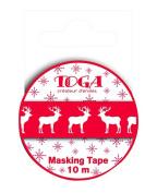 Toga MT41 Masking Tape reindeer Scandinavian Washi Tape 5.5 x 7 x 1.5 cm Red/White
