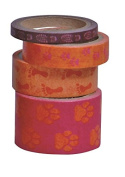 Kleiber 5/ 10/ 15/ 25 mm Orange Paw and Feet Prints Coloured Adhesive Sticky Tape for Wrapping/ Decoration, Pack of 4 Rolls