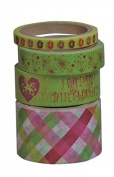 Kleiber 5/ 10/ 15/ 25 mm Green Coloured Happy Birthday Adhesive Sticky Tape for Wrapping/ Decoration, Pack of 4 Rolls