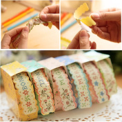 HeroNeo® New 1PC Cute Floral Paper Stickers Adhesive Lace Decorative Tape Children Kawaii