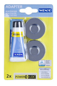 WENKO 20645100 Power-Loc base for Premium & Classic - fixing without drilling, 4 x 1.5 x 4 cm, Chrome