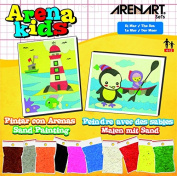 Arena Kids 25 x 19 cm Lighthouse and Penguin Sand Art Painting Kits, Yellow