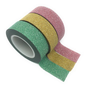 3 RED GOLD GREEN GLITTER Washi Tape - Extra long 10m jumbo rolls - Ideal for crafting, scrapbooking, card making, etc.
