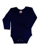 BabywearUK Body Vest Env Neck Long Sleeved - Navy - Newborn - British Made