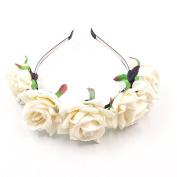 JZK® Wedding flower girl bridesmaid bride rose flower tiara headband for children and adult hairband floral garland headpiece,white