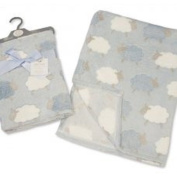Baby Boys Blue White and Grey Sheep Animals Wrap Blanket 75cm x 100cm approx