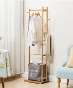 ZEMIN Floor Standing Coat Rack Clothes Hat Stand Hanger Layer Shelf Bamboo Pole 6 Hooks, 47*31*157CM