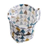 LnLyin Foldable Laundry Basket Dirty Clothes Hamper Folding Children Toys Organiser Storage Basket Tidy Clothes Holder with Lids,Triangular geometric blue