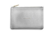 Katie Loxton Perfect Pouch Clutch Bag Metallic Silver - ALL THAT GLITTERS